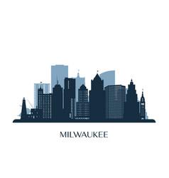 Milwaukee skyline monochrome silhouette vector