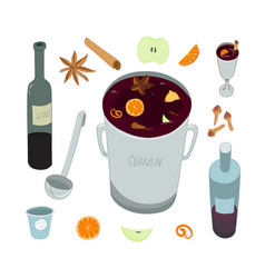 Mulled wine ingredients isolated on white vector
