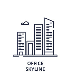 office skyline line icon concept office skyline vector image