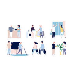 people home cleaning family making homework daily vector image