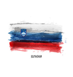 Realistic watercolor painting flag of slovenia vector