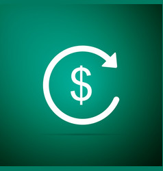 Refund money icon isolated on green background vector