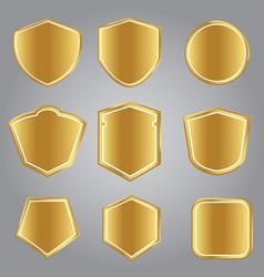 retro golden shields vector image