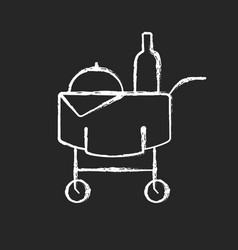 room service chalk white icon on black background vector image