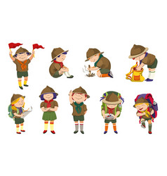 Scout icons set cartoon style vector
