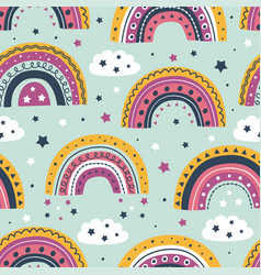 seamless pattern with rainbows and clouds vector image