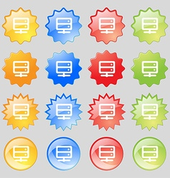 Server icon sign Set from fourteen multi-colored vector image