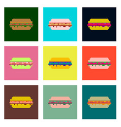 set pixel icons of burger vector image