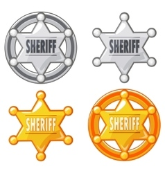 Sheriff marshal star gold and silver medal vector