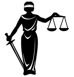 Silhouette symbol justice statue with sword vector