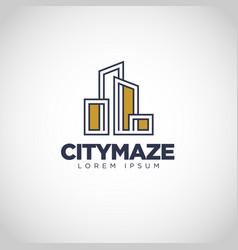 simple city maze property logo design vector image