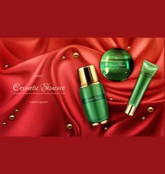 Skincare cosmetics realistic promo poster vector