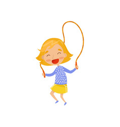Smiling little girl jumping with skipping rope vector