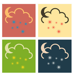 Snow cloud and month simple flat symbol icon with vector