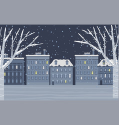 snowy city in evening winter holiday weather vector image