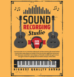 sound recording studio and musical instruments vector image