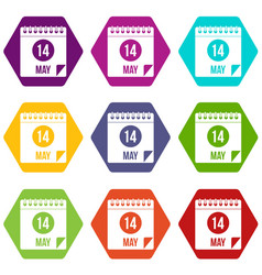 Spiral calendar page 14th of may icon set color vector