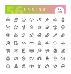 Spring Line Icons Set vector