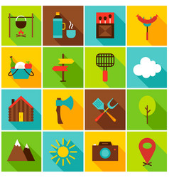 Summer camping colorful icons vector