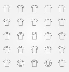 T-shirt icons set tshirt clothes outline vector