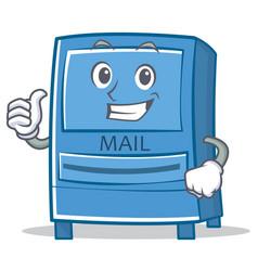 thumbs up mailbox character cartoon style vector image
