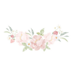 watercolor pink peony flower bouquet isolated on vector image