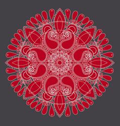 White outline rangoli on red beautifull vector