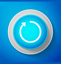 White refresh icon isolated on blue background vector