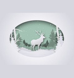 Wintry paper art xmas greeting with deer in forest vector