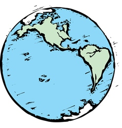 Woodcut earth west vector image