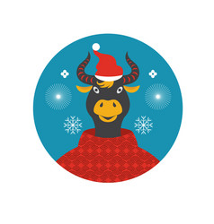 year bull greeting card cow vector image