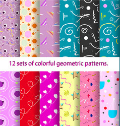 12 pattern retro vintage 80s or 90s fashion style vector image vector image