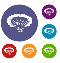 atomical explosion icons set vector image vector image