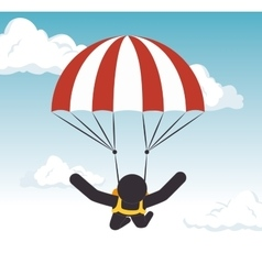parachuting man extreme sport graphic vector image vector image