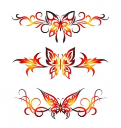 set tribal with butterflies tattoo vector image vector image