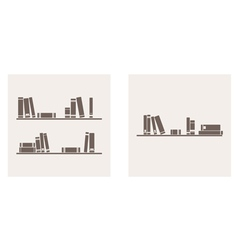 Books on the shelf simply retro set vector image