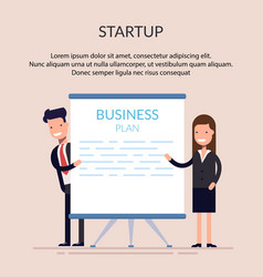 business man and woman or managers stand near the vector image vector image