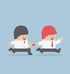 Businessman passing baton to the other in relay ra vector image vector image
