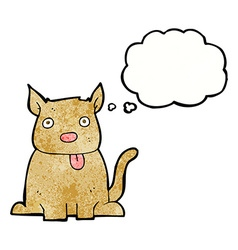 cartoon dog sticking out tongue with thought vector image vector image
