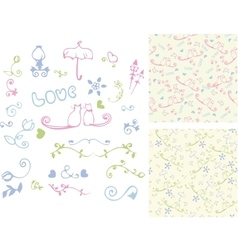 Hand drawn vintage design elements and seamless vector image vector image