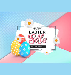 happy easter sale banner with eggs and frame vector image vector image
