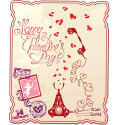 Holiday card with hand written text Happy Valentin vector image