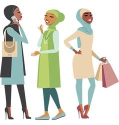 Modern muslim girls vector image vector image