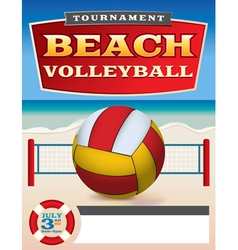 Beach Volleyball Tournament Flyer vector image vector image