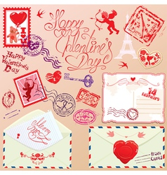 Collection of love mail design elements - stamps vector image