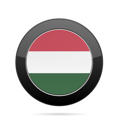 flag of hungary shiny black round button vector image vector image