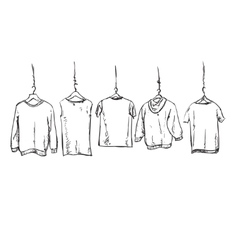 Hand drawn clothes on the hangers vector image vector image