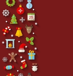 Seamless Pattern with Christmas Flat Icons vector image vector image