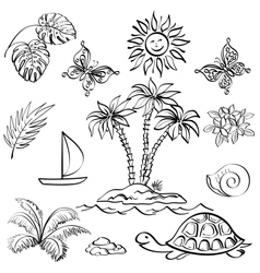 Set of exotic objects vector image vector image