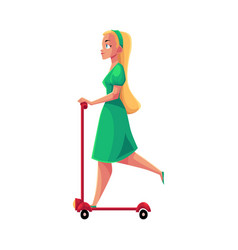 young pretty blond girl woman in dress riding vector image